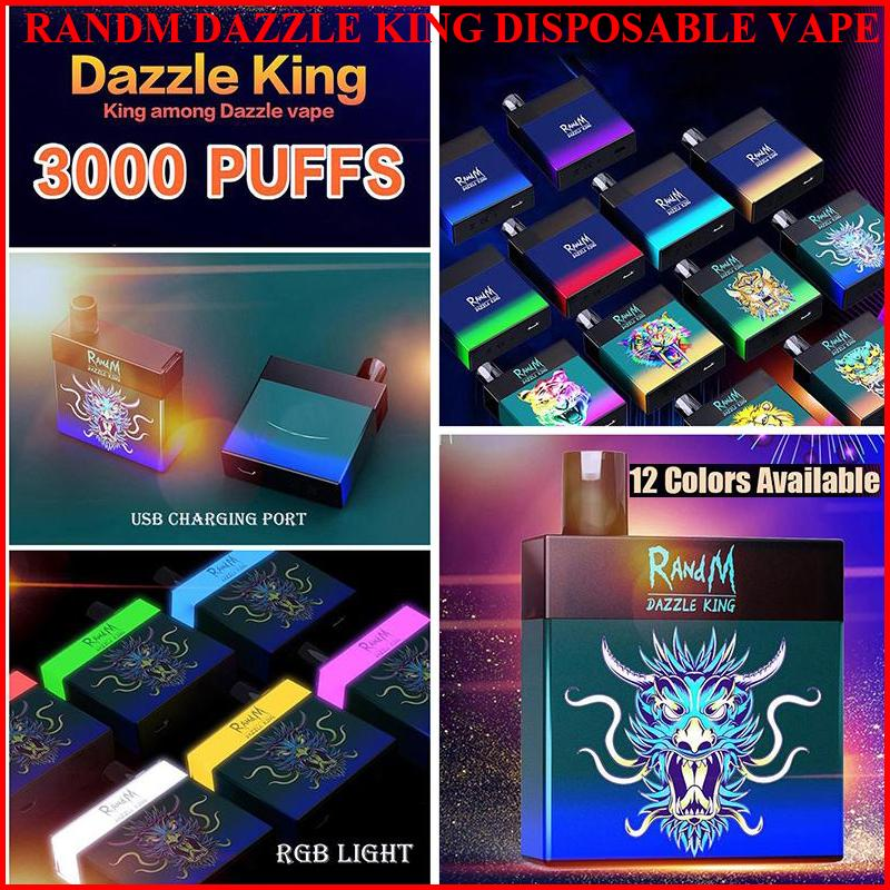 Randm Dazzle King 일회용 담배 vapes 3000 퍼프 전자 담배 8.0ml 포드 빛 어두운 LGB 빛 12 색 바 프로 스위치