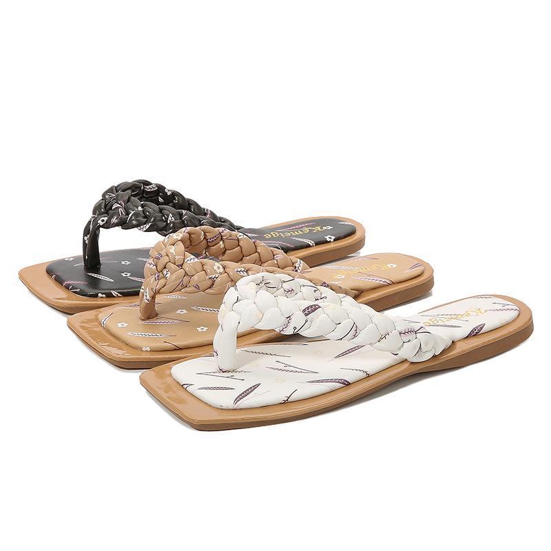 النعال مصمم الفاخرة جودة 2021 سيدة الصيف الشرائح زائد الحجم 41 عارضة الأحذية المسطحة نسج الصنادل المرأة زحافات