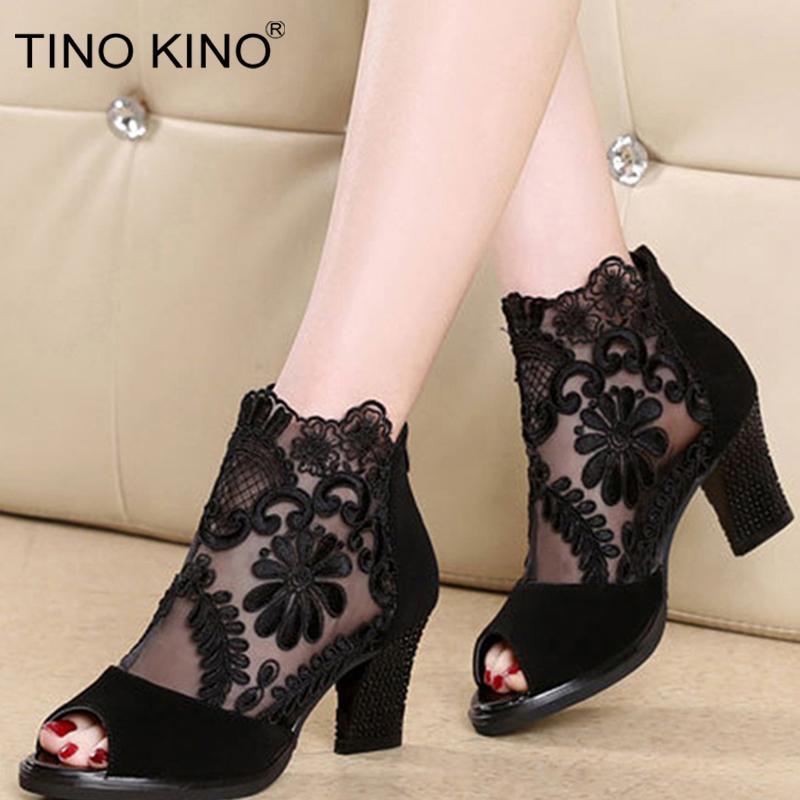 Novas mulheres malha zip sandálias lace zip peep toe verão fêmea bombas womens quadrado salto alto moda sapatos senhoras plus size