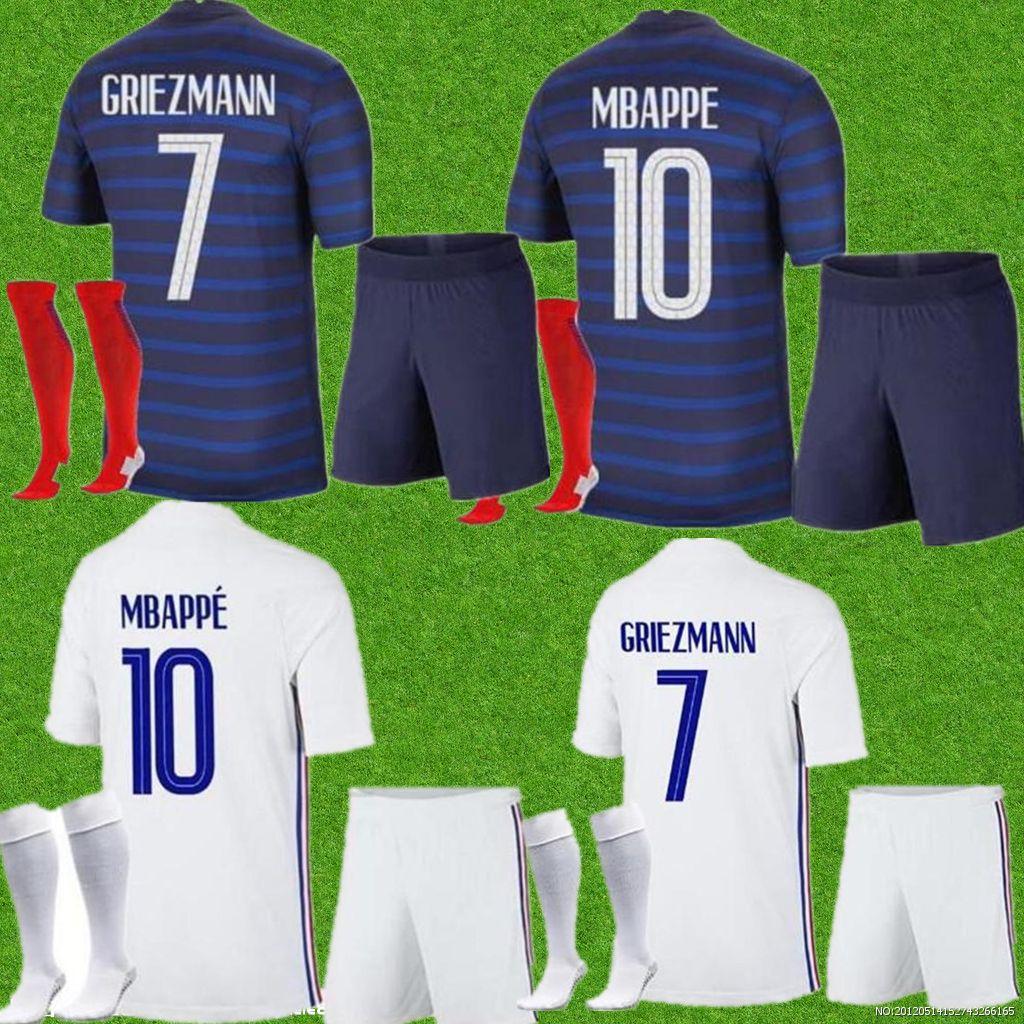 الرجال + أطفال أطقم فرنسا mbappe لكرة القدم الفانيلة الطفل 2021 جريزمان بوغبا لكرة القدم قمصان 20 21 Pavard Kante الكبار الأولاد مجموعة كاملة موحدة