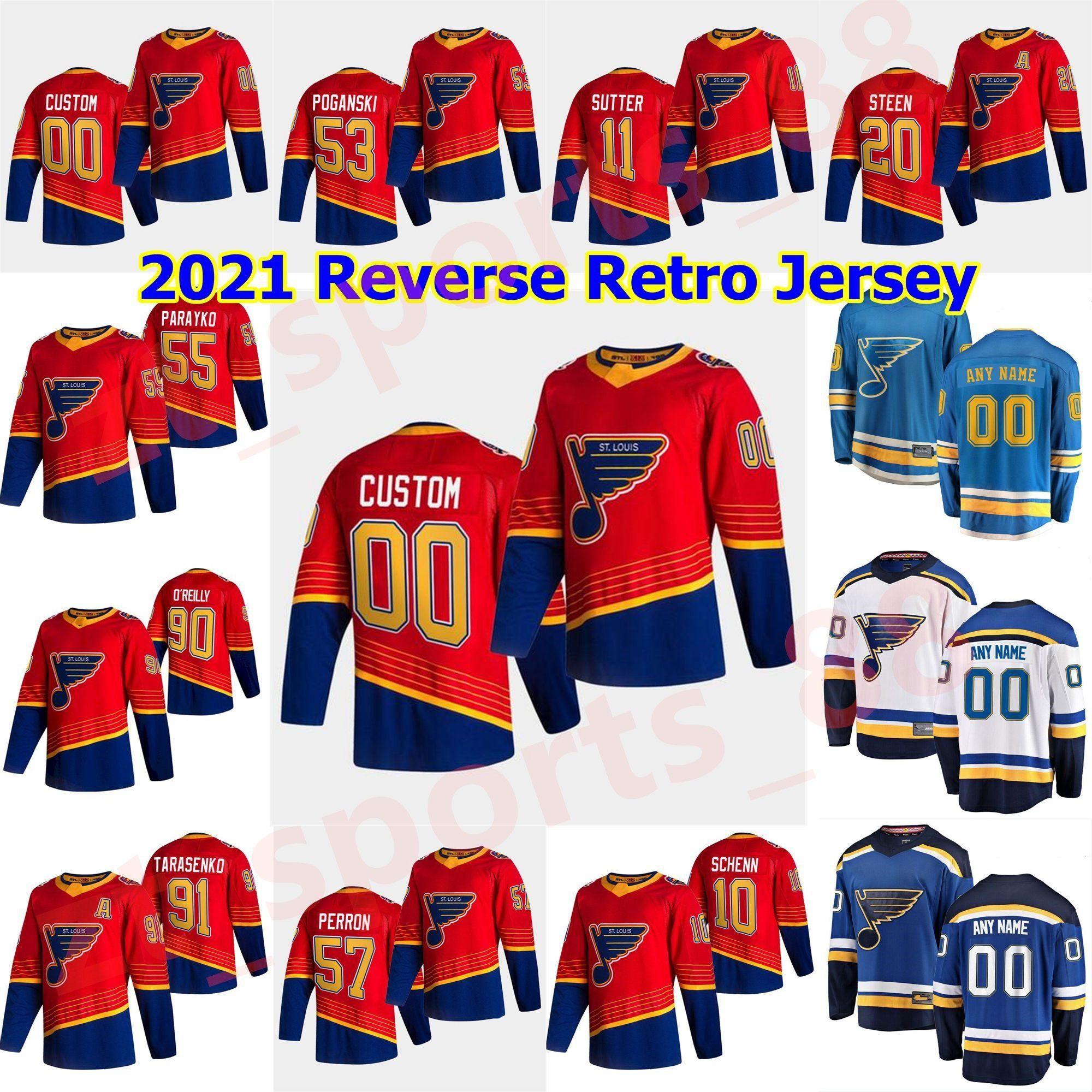 Louis Blues 2021 Retro Retro Hokey Formaları 90 Ryan O'Reilly Jersey Colton Parayko Binnington Vladimir Tarasenkojaden Schwartz Özel
