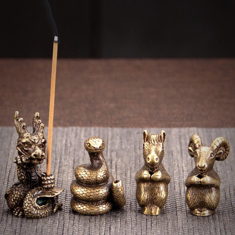 Tee-Haustier Kleiner Weihrauchbrenner-Stickhalter Indoor-Platten-Legierungs-Ornamente Tierkreis-Duft-Lampen