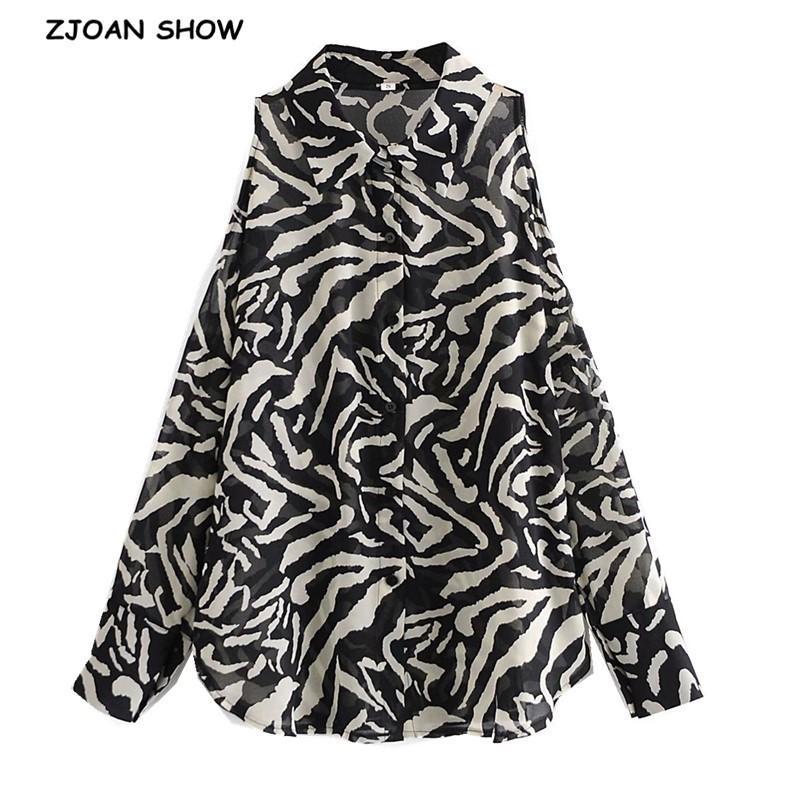 Vintage Vapel Contraste Couleur Animal Zebra Imprimer Chemise Élégante Femme à poitrine à poitrine manches longues creuses Chemisier épaule Hauts 210414