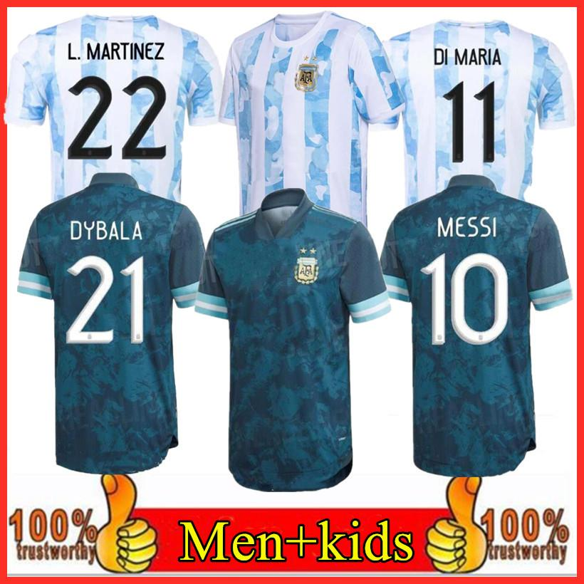 Аргентина Футбол Джерси Вентиляторы и игрока Версия 20 21 COPA Home Away Футбольная футболка 2020 2021 Messi Dybala Aguero Lo Celso Men + Детский Комплект Униформа