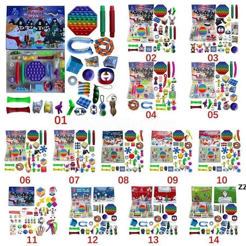 Condividi per essere partner 24 pz Natale Fidget giocattolo Blind Box Party Avvento Calendario per ragazze Ragazzi Bambini Adulti Surprise Sorprise Stress Stress Count Down Holiday (personalizzato)