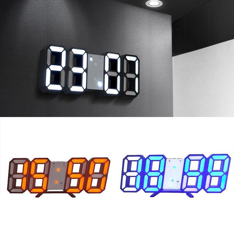 Duvar Saatleri Akrilik Çalar Saat USB 5 V Oturma Odası Yatak Odası Masası Masa Büyük Dekor 3D