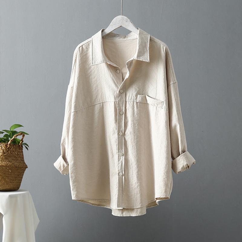 Fahion baumwolle lose vintage weiße bluse frauen frühling langarm büro dame fest shirts beige top ropa de mujer frauen blusen