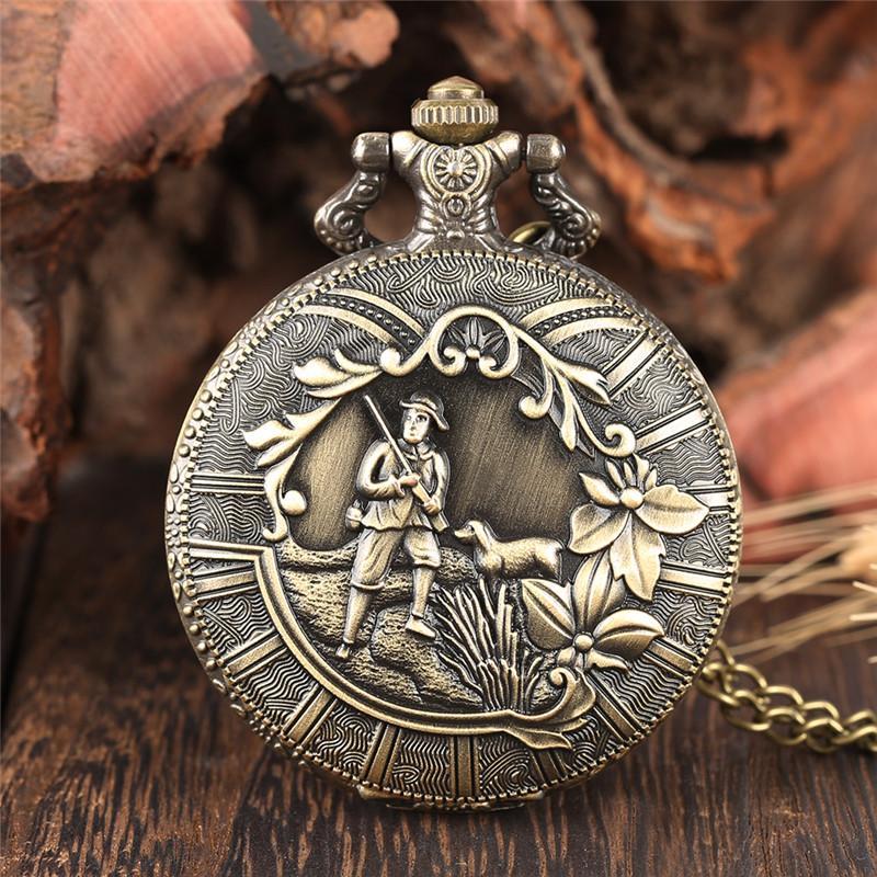 Classic Bronze Shepherd Farmer Cover Couverture Fleur Quartz Pocket Watch Analog FOB Collier Collier Chaîne Meilleur cadeau aux hommes femmes