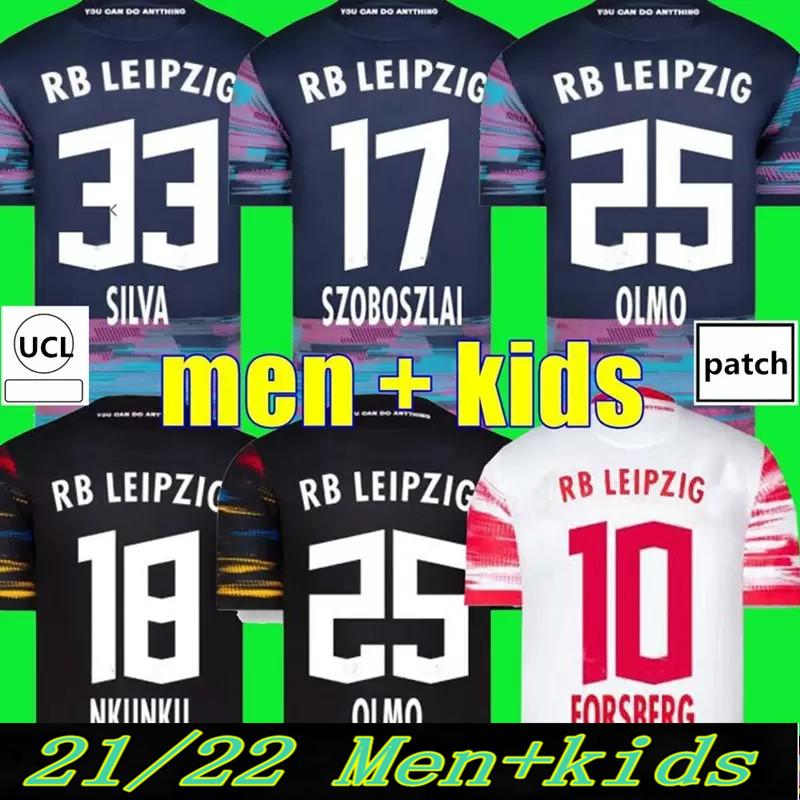 2021 2022 Leipzige s Fussball Trikots Szoboszlai 21 22 RBL Football Shirt Poulsen Nkunku Silva Haidara Sabitzer Hee Chan Forsberg Laimer Olmo Halstenberg Männer + Kinder Kits