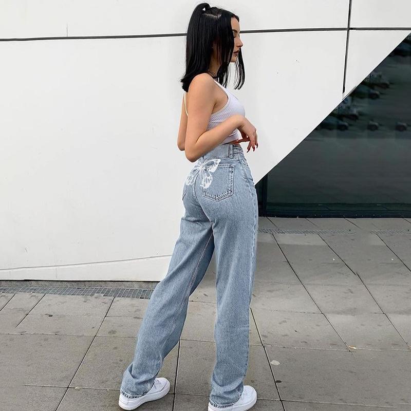 나비 프린트 데님 바지 여자 Y2K 청바지 여자를위한 여성 패션 2021V 빈티지 하이 웨이스트 바지 Harrajuku Capris Streetwear