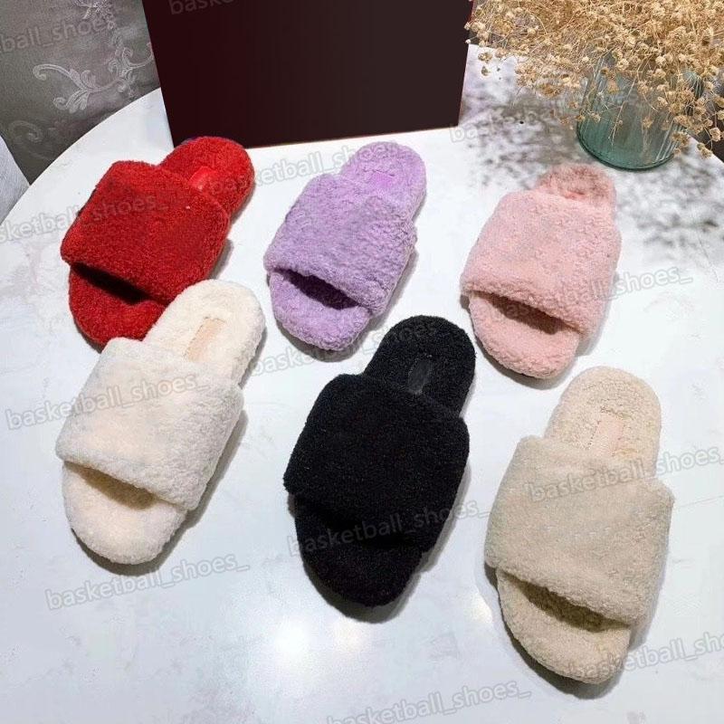 Donnette da donna di alta qualità Designer Diapositori a sandali piatti Sandali Stampa Appartamenti Designer Designer Flip Flops Luxury Furry Slipper Inverno Slide Slide Dimensione 34-42