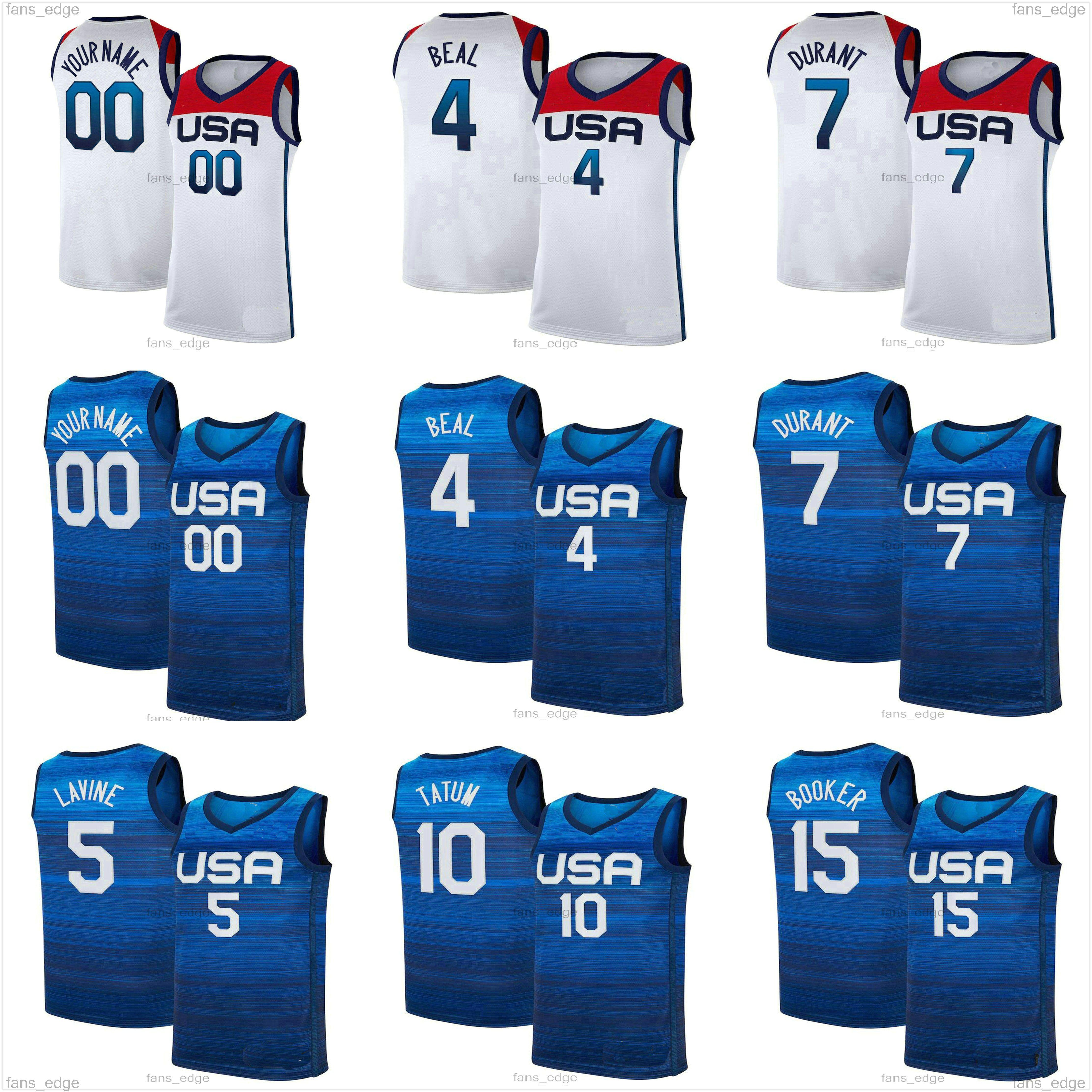 Devin 15 Booker Kevin 7 Durant Basketbol Jersey 6 Damian Lillard 10 Jayson Tatum Zach 5 Lavine Jrue 12 Tatil 2020 2021 Ulusal Takım ABD Yaz Olimpiyatları