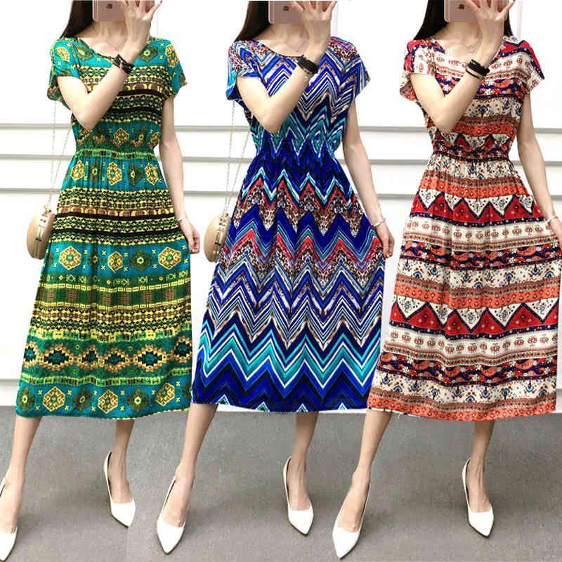 2021 Nouveau Coton Silk imprimé col rond manches courtes gilet floral gilet de plage jupe ethnique robe d'été