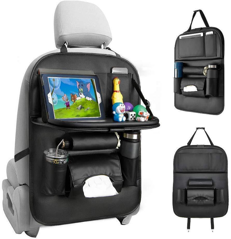 Auto Organizer Sitz Aufbewahrungstasche Multifunktionsleder Speisetisch und Stuhl Back Storages Taschen Autos Praktische Dekoration QC81