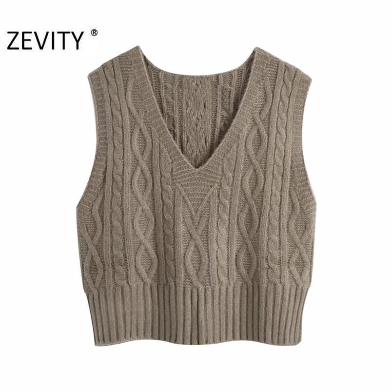 Donne Fashion V Neck Solid Twist Twist Maglione Maglia Femmina senza maniche Casual Slim Vest Chic Tempo libero Pullover Top S454 210420