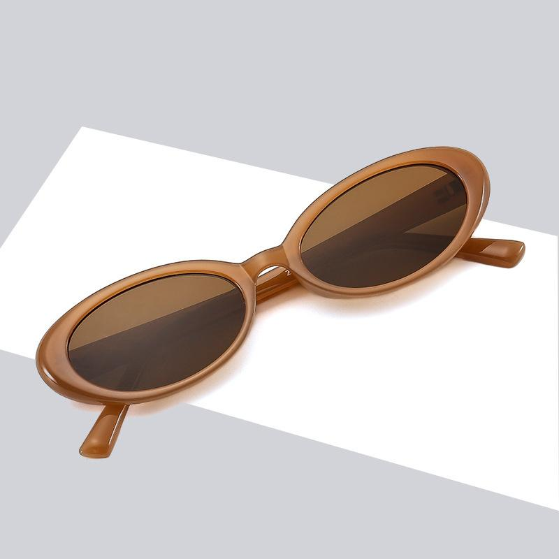 Sunglasses PC frame oval small sunglasses Fashion mens and womens party concave candy colored glasses