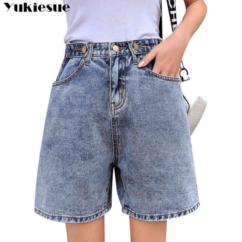 Vintage Sommer Frau mit hoher Taille Frau Denim Shorts Mom Frauen Jeans für Frauen Jean Plus Größe 5XL 210412