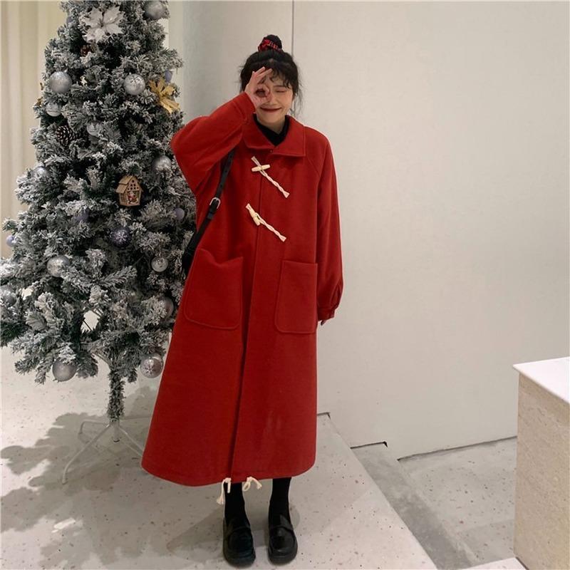 Women's Wool & Blends Autumn Winter Solid Color Lapel Windbreaker Vintage Reduced Age Ox Horn Buckle Medium Length Women Wide Woolen Coat