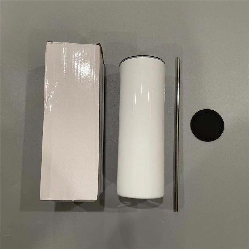 20oz 승화 스트레이트 텀블러 스틸 밀짚 고무 바닥 스테인레스 텀블러 커피 잔 물병 Sublimación 광택 매트 컵 A02