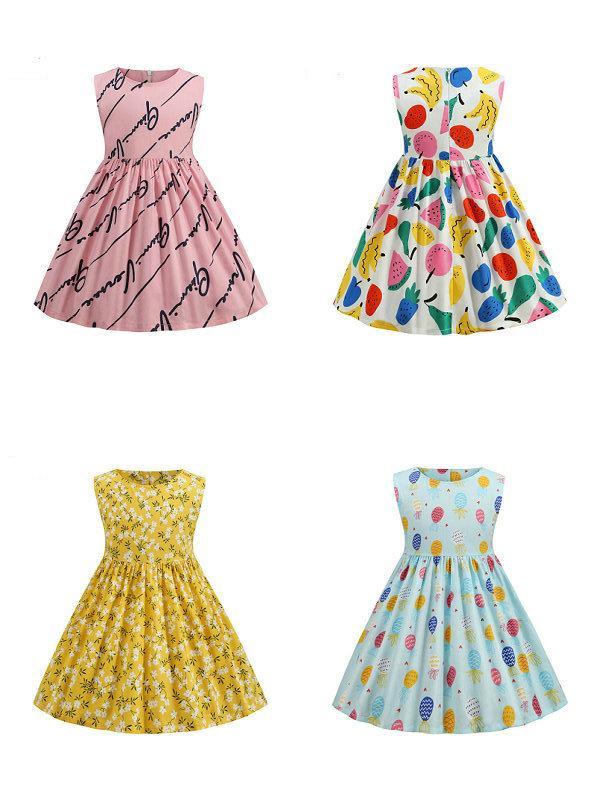 التجزئة / الجملة طفل الفتيات قصيرة الأكمام المطبوعة الأميرة اللباس السبابة فساتين الأطفال أزياء المصممين ملابس الاطفال بوتيك الملابس