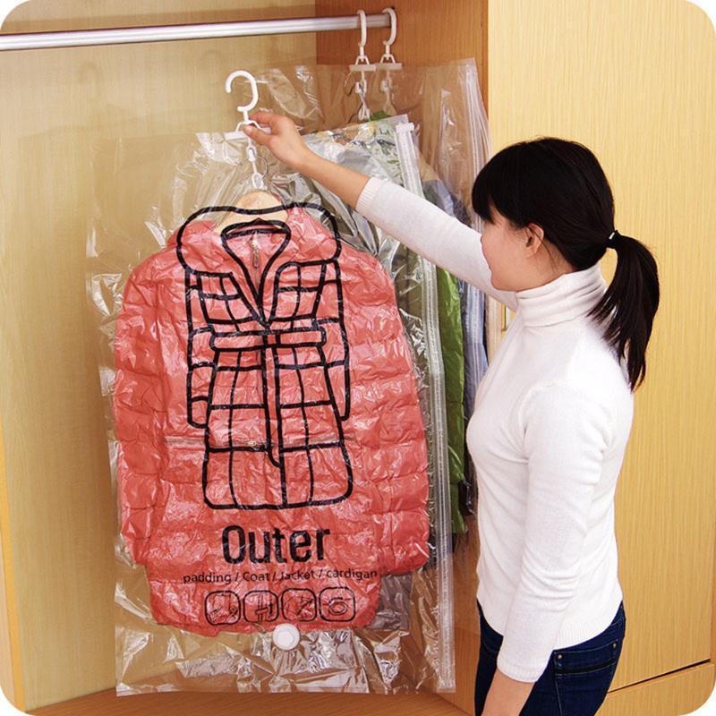 أكياس التخزين توفير الفضاء المنظم شنق حقيبة الفراغ للملابس قابلة للطي الحقيبة ضغط الحدود الشفافة