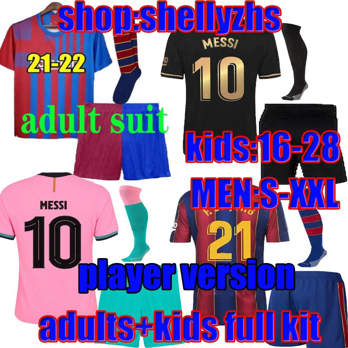 Adultes + Enfants Player Version 20 21 22 Barca Soccer Jerseys Messi 2021 2022 Ansu Fatizmann Braithwaitite Pedri de Jong Coutinho Mouvement Chemise de football Uniforme Kits
