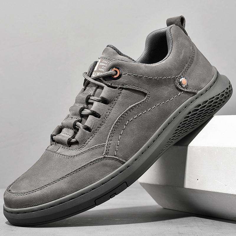 الرجال جلد طبيعي أحذية الدانتيل يصل الاتجاه مريح الرجال أحذية في الهواء الطلق الأزياء البريطانية الرجال عالية أعلى أحذية رياضية الأخفاف الرجال