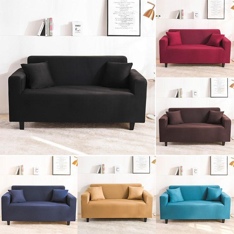 Solid Color Sofa Cover Slipcovers Stretchs Covers For Living Room Elastic Couch Chair Towel 1-4-seater Bedding Sets