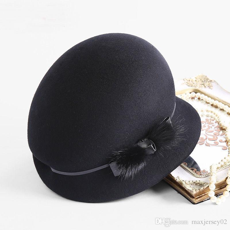 그늘 100 % 호주 양모 Fedoras 여성 가을 겨울 교회 Cloche Hats 우아한 연회 밍크 모피 페도라 모자