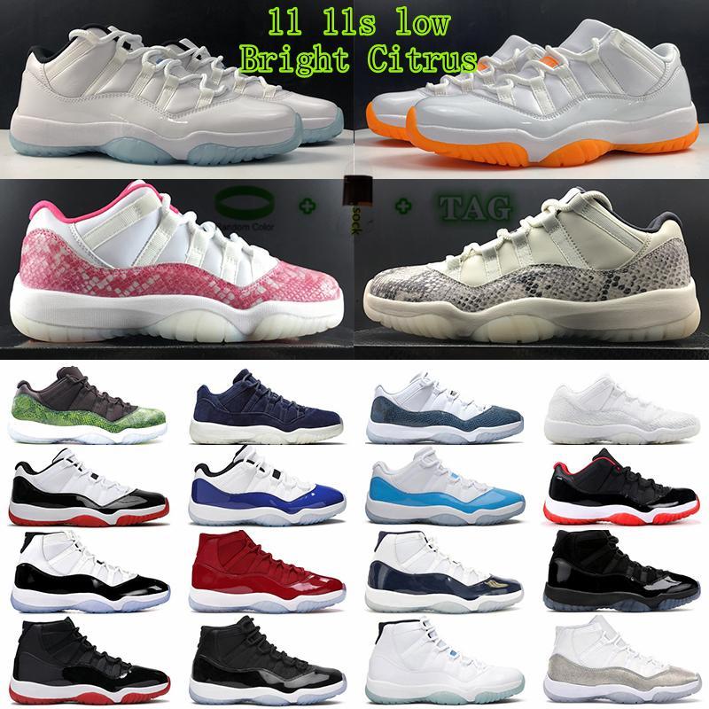 [Pulseira + meias + caixa original] 11 sapato baixo branco criado 11s jumpman sapatos de basquete herdeiro noite maroon pantone pense 16 Snake Rose Gold homens mulheres sneakers