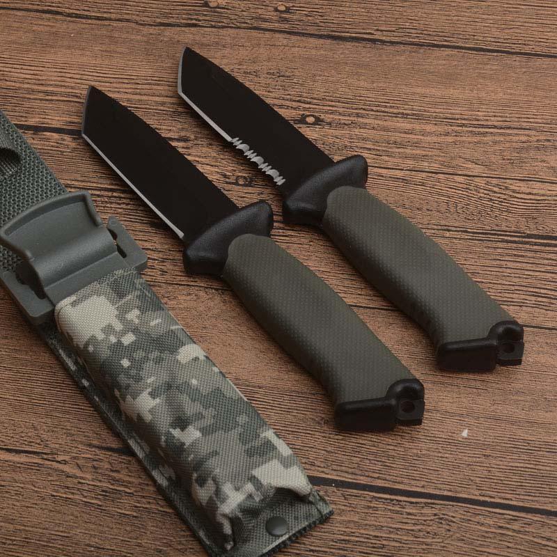 Couteau droit de la survie en plein air de haute qualité 12C27 Point Tanto Point Black Blade Full Tang FRN Poignée Camping Randonnée Randonnée Couteaux de secours avec Kydex