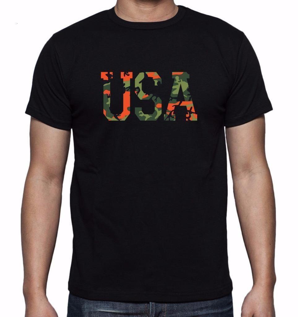 Men's Stampato Camo USA Divertente Camouflage Sport Progettazione grafica Design T-Shirt Summer Manica Corta Tshirt in cotone Tshirt Tees Streetwear [WRChep6 @ 163.