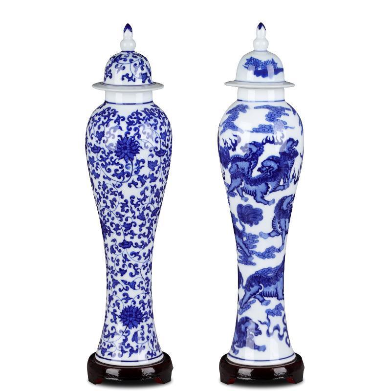 Vintage Florero de cerámica de porcelana azul y blanca con tapa artesanía artesanal decoración creativa esbelta floral flor floral floral