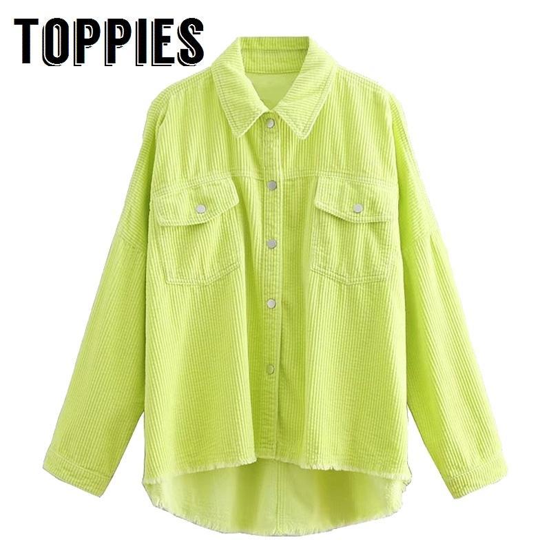 2020 primavera mulheres cor verde corduroy jaqueta solta Único breasted casaco moda botão para baixo borla jaqueta cx200725