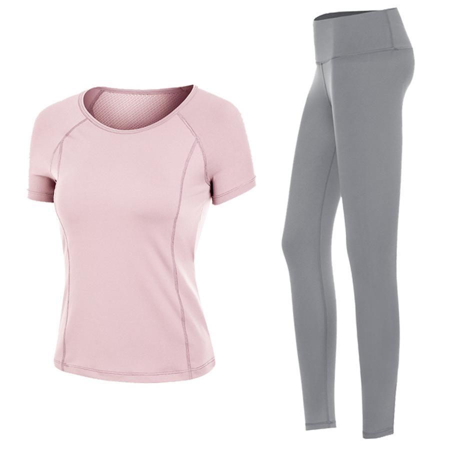 Traje deportivo de verano para mujer Ropa de secado rápido Red Gym Red Fin de yoga de gama alta Mañana corriendo Dos piezas Set Hloh
