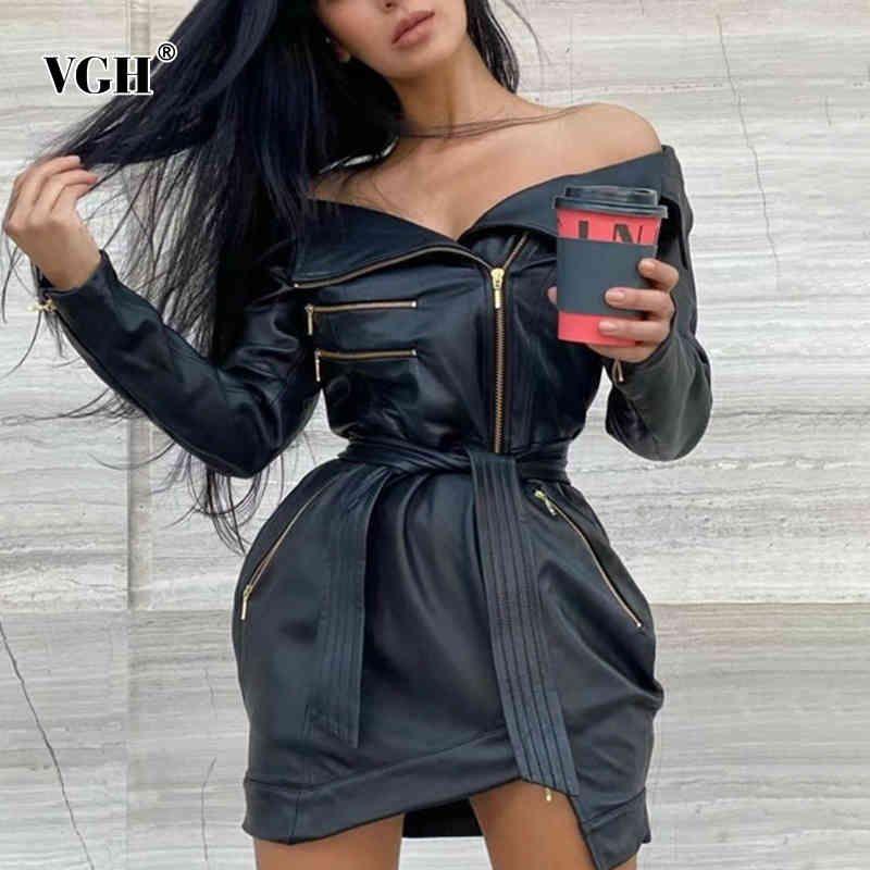 VGH Slim Patchwork Zipper Dress For Women Slash Neck Long Sleeve High Waist Lace Up Mini Dresses Female Fashion New Clothing 210421