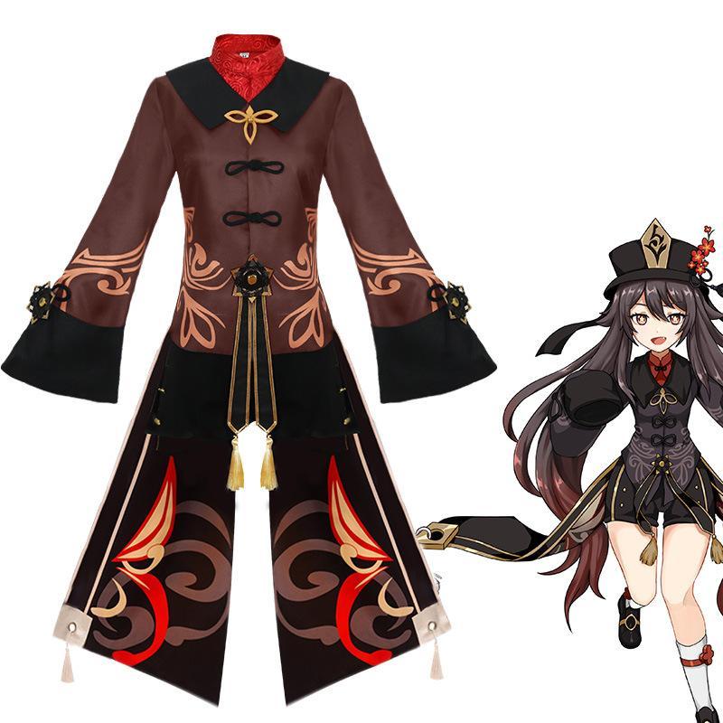 Anime Costumes Genshin Impact Hutao Cosplay Costume Women/girls Loli Uniform Wig Set Anime Game Eye of God Halloween Party Costumes Accessories