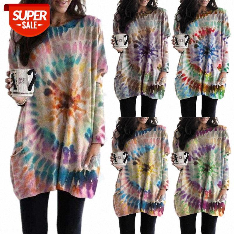 [Auf Lager] Herbst und Winter Europäische Amerikaner Damenbedruckte Spirale Fledermaus Sleeve Pullover Kleid Frauen # V73Z