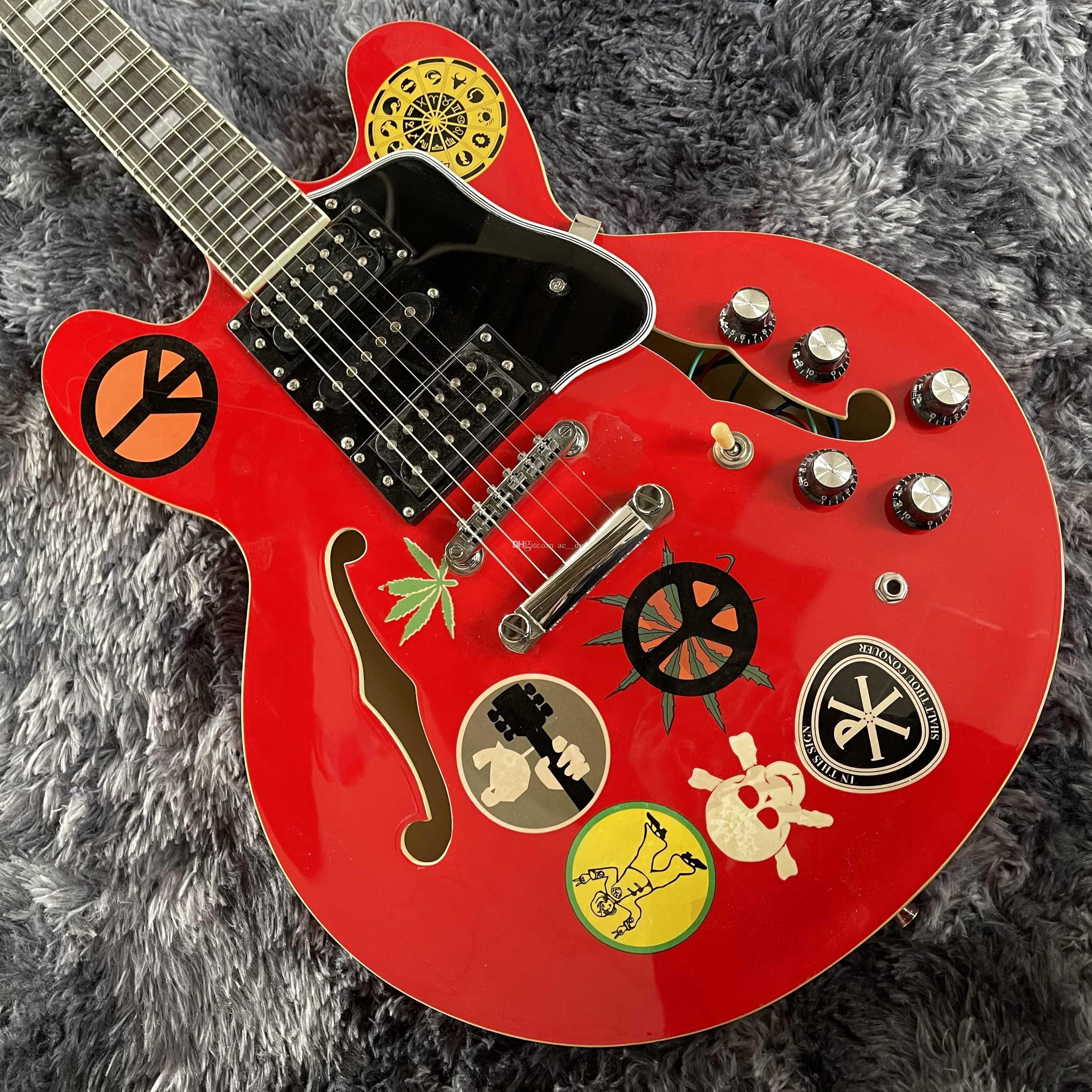 ألفين لي جيتار أحمر كبير 335 شبه الجوف الجسم الجاز الكرز القيثارات الكهربائية كتلة صغيرة البطانة 60 ثانية الرقبة، 5 المقابض سيد ستيك، المستقبلون