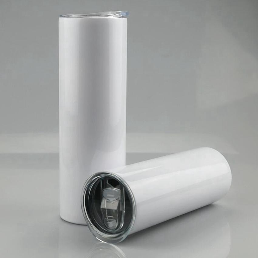 20 oz boş süblimasyon düz tumblers paslanmaz çelik kahve kupalar kapaklı sıska bardaklar ve plastik saman zza