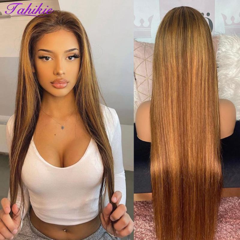 Parrucche di pizzo Brown Color Highlight Parrucca capelli umani per le donne 13x4x1 Dritto Frontale Brasiliano 4x4 Chiusura Remy Tahikie