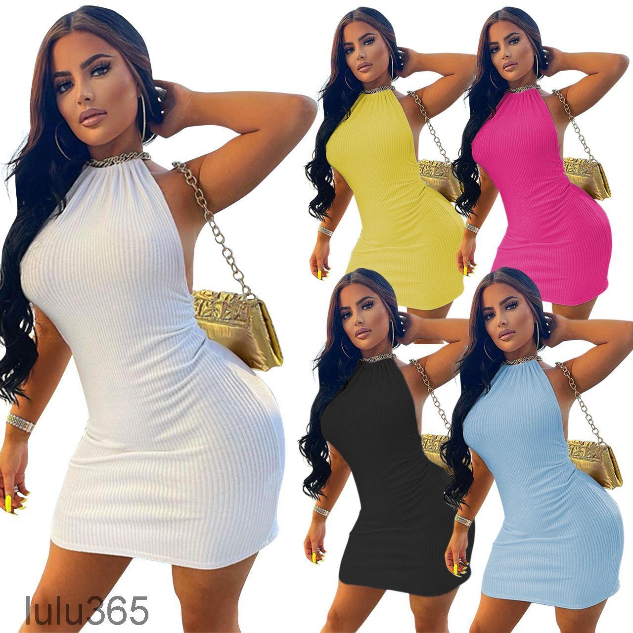Vestidos de mujer 2021 Primavera y verano Nueva diseñadora de mujer Moda Slim Sexy Halter Lazo Simple Color Sólido Suspender Sin mangas Falda corta Lulu365