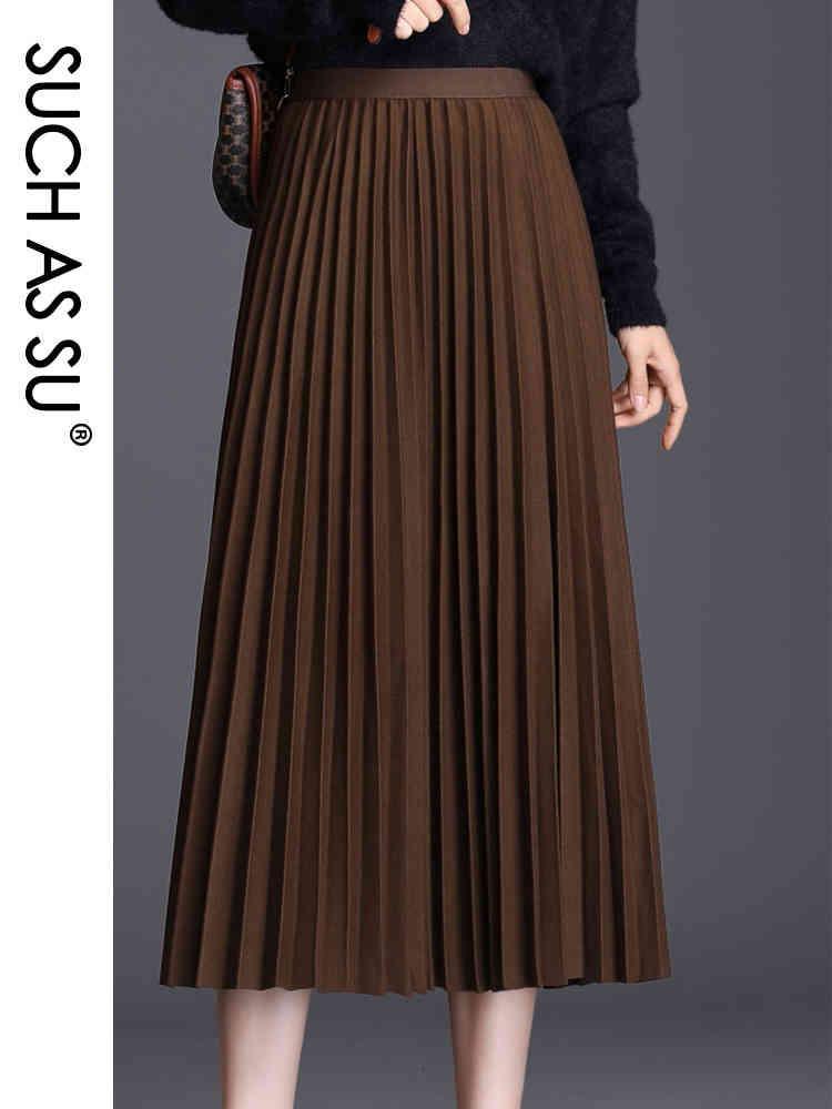 Telle que su 2020 automne hiver femmes plissées gris noir café vert tricot laine haute taille taille haute taille moyenne grande jupe
