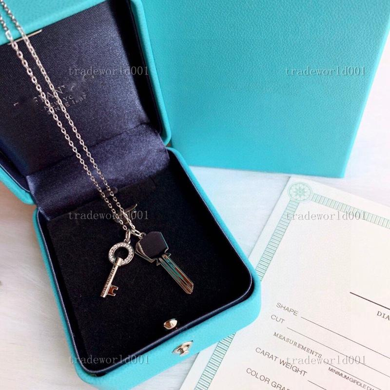 Tiffany necklace Graduado S925 Sterling Keys Pétalas Colar de pingente de chave com diamantes 100% 925 Colares de prata