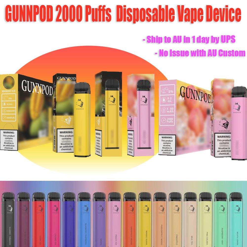 2021 Gunnpod 2000 Puffs Gunpod Vape Descartável Vape Pen E Cigarro Deivce com 1250mAh 18350 Bateria 8ml Pod 20 Cores Fumar Kit de Vaios