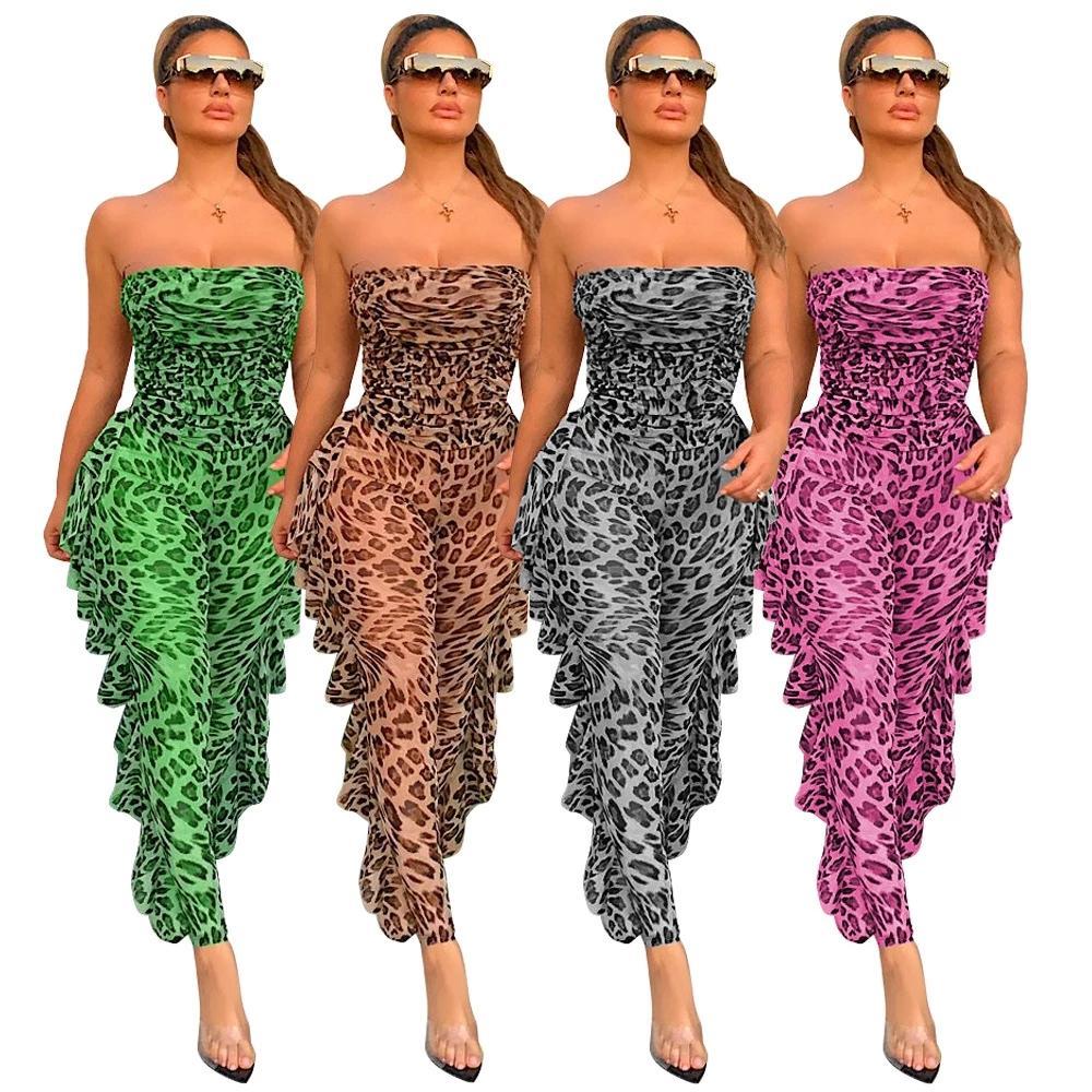 Sheer Malha Leopard Imprimir Macacão Womens Jumpsuit Off Side Ruffles Party Club Outfit Verão Strapless Bodysuits