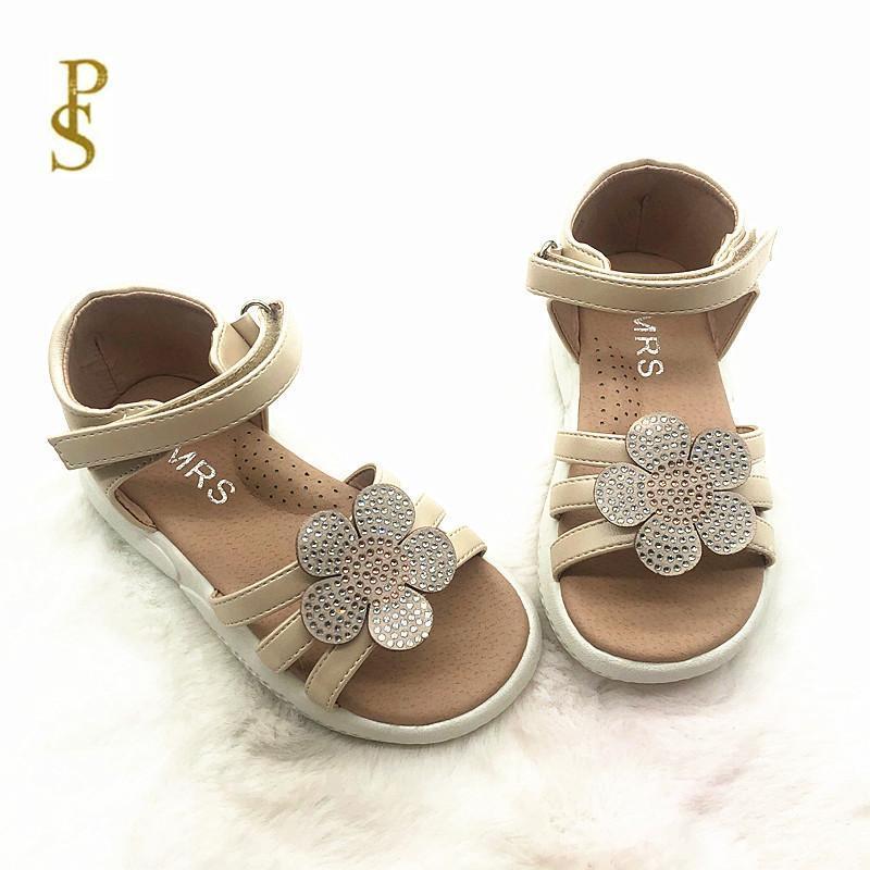 أحذية الفتيات مع زهور جميلة الصنادل الأطفال بو للبنات حزب لامعة