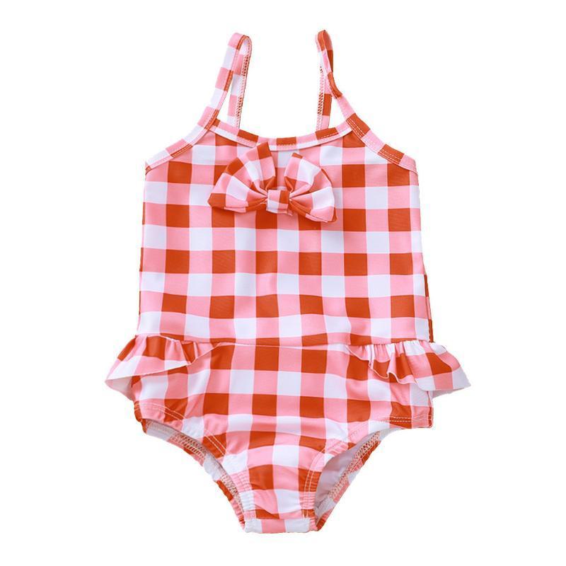 Sommer Kleinkind Baby Mädchen Rüschen Plaid Print Swimsuit Jumpsuit Bademode Badeanzug Siamesische Bodysuit Beachwear # 40 Einstücke