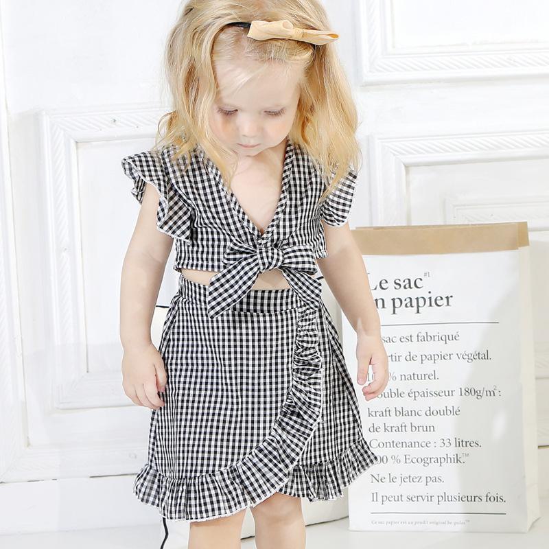 Baby Sommer Kleidung Set Schmetterling Plaid Print Kleine Hülse Top + Unregelmäßiger Rock Kleinkind Outfits Zwei Stück Kleidung Sets