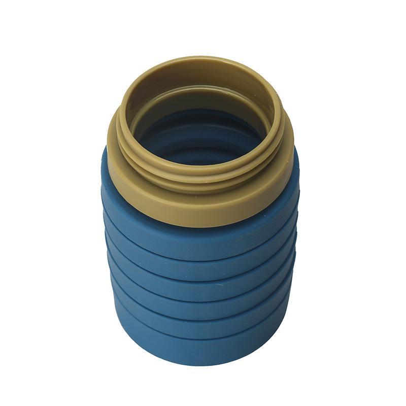 Fitness Tragbare Sportwasserflasche Halten Sie Wasser Kalt Outdoor Water Cup mit Stroh 550ml Silikon zusammenklappbare Sportflasche